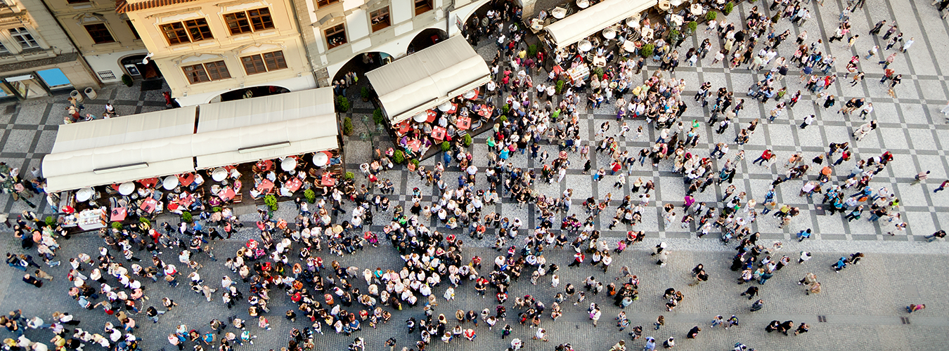 aerial view of street scape with lots of people