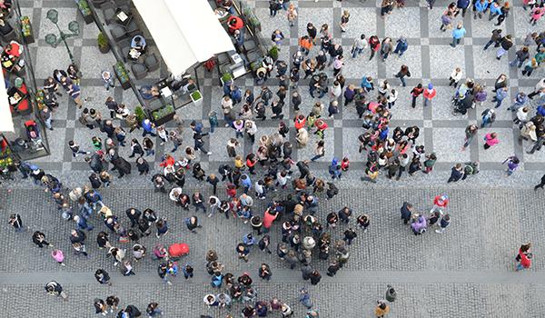 Aerial view of a city center