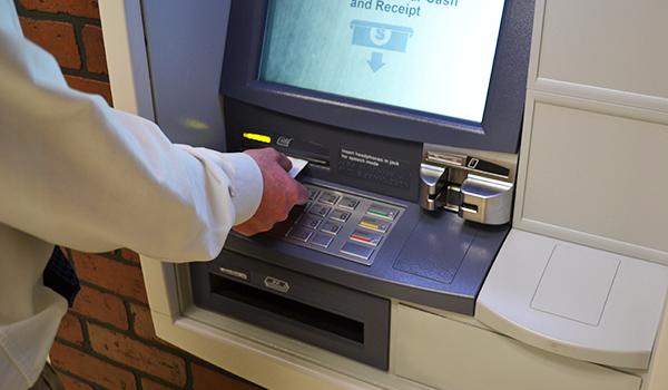 Closeup of an ATM machine