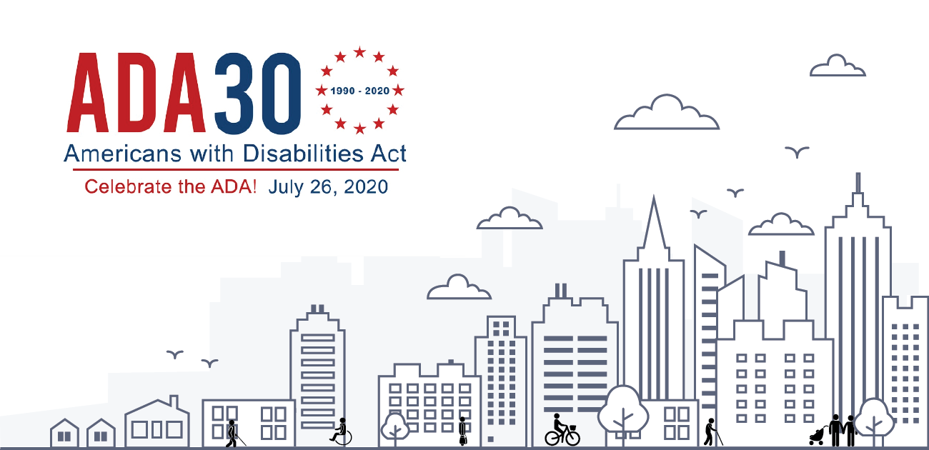 ADA 30th anniversary logo next a drawing of a city scape with people of different abilities