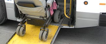closeup of a wheelchair ramp