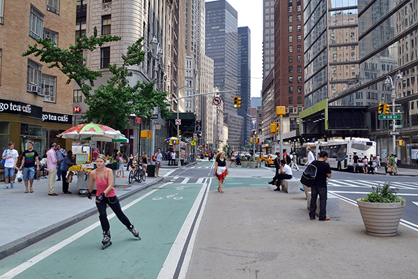 NYC streetscape with focus on a bikelane