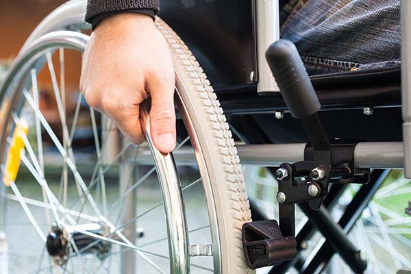 closeup of a wheelchair