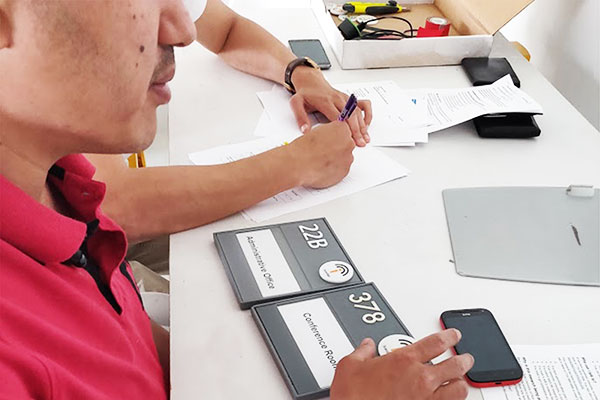blind individual participating in a usability study