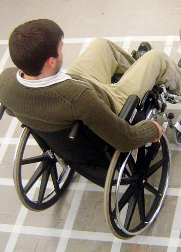 Aerial view of a wheelchair user