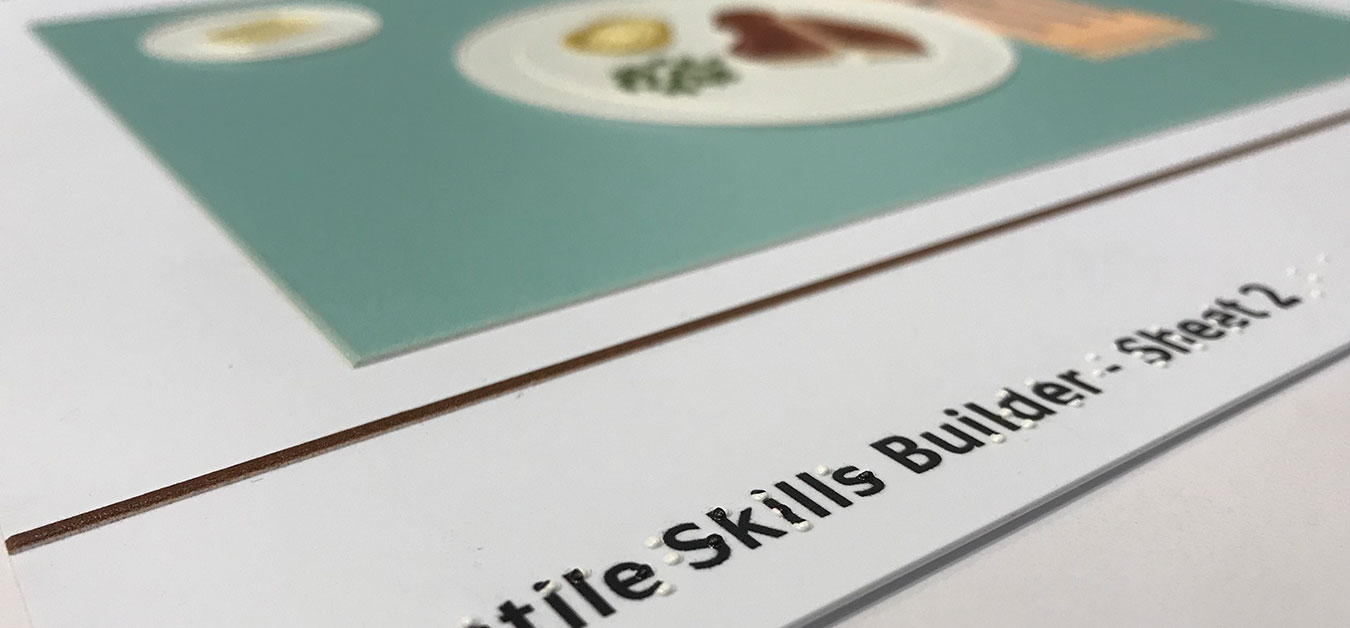 Tactile Skill Builder sheet 1 shows partial image of a the dinner table game