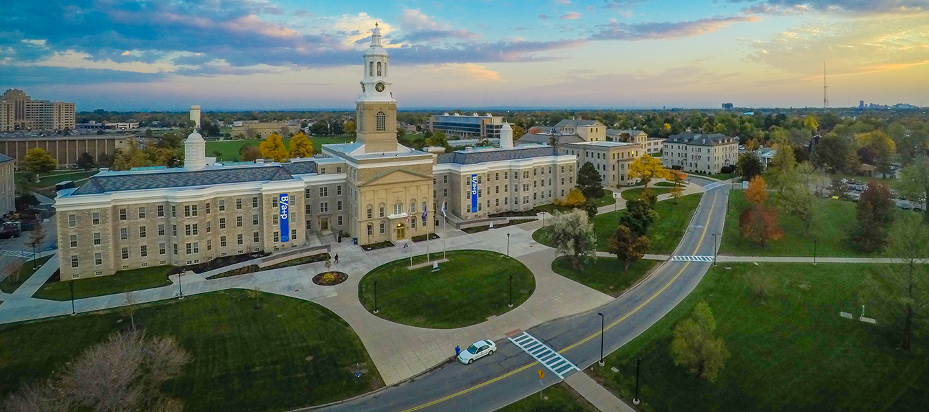 Aerial shot of Hayes Hall showing front entrance