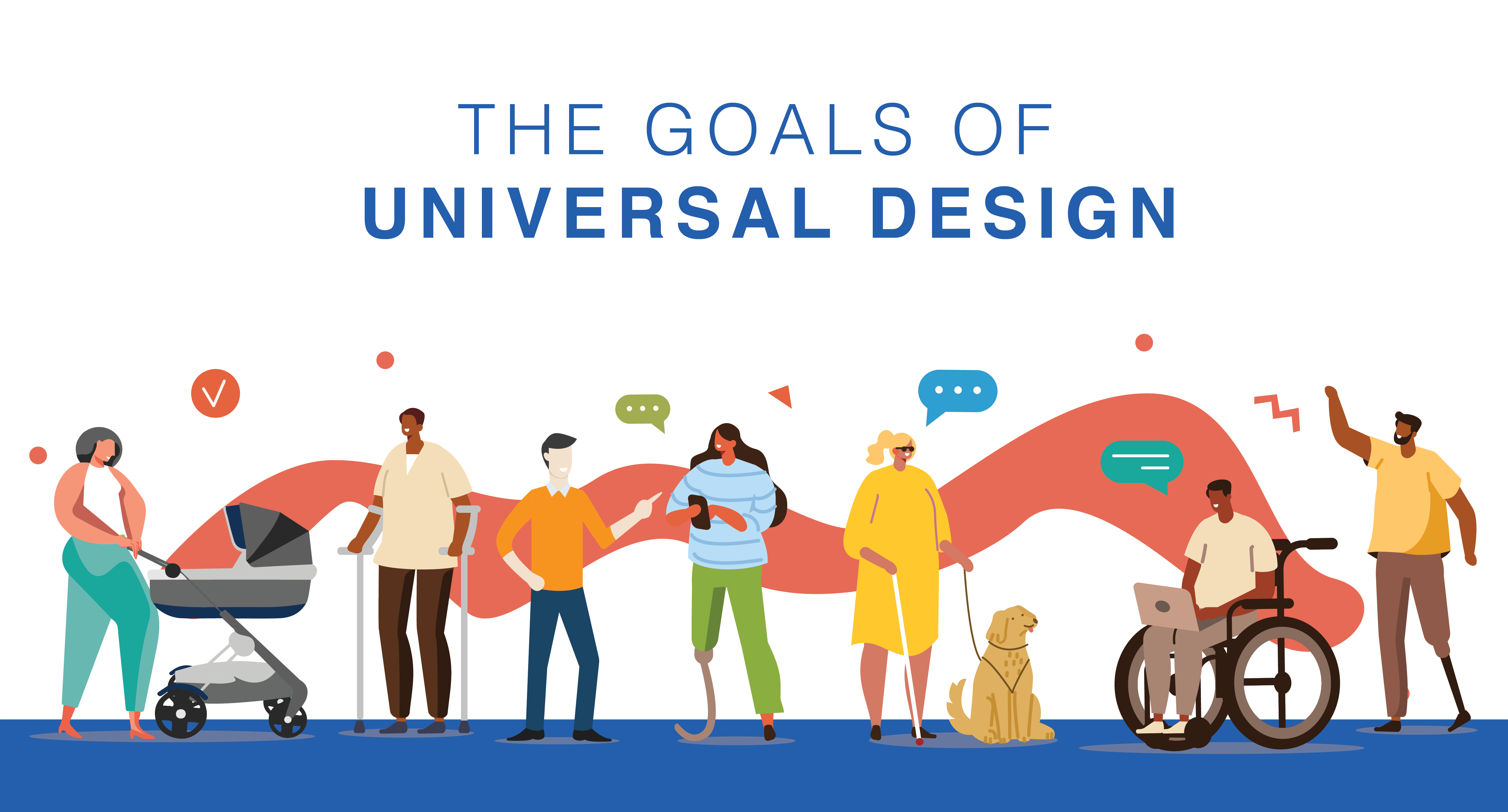 Goals of Universal Design - illustration of various types of people
